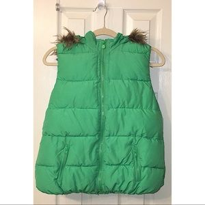 🆕 JUSTICE Green Puffer Vest with Hood